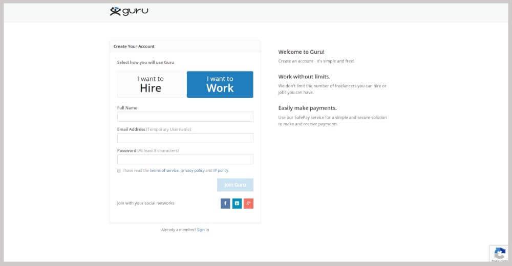 Guru freelance tilmelding
