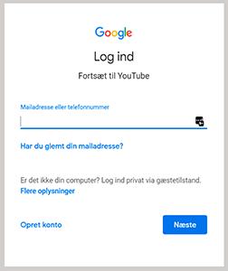 log ind opret Google konto